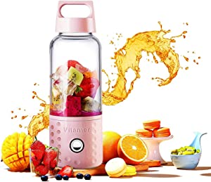 Personal Smoothie Blender,20ozDetachable Portable Blender Fruit Mixer, High Speed Single Serve Juicer Cup, Lightweight USB Rechargeable Travel Blender for Shakes and Smoothies,Pink