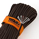 "TITAN SurvivorCord | BRONZE | 100 Foot Hank | Patented Military Type III 550 Paracord / Parachute Cord (3/16"" Diameter) with Integrated Fishing Line, Fire-Starter, and Snare Wire"
