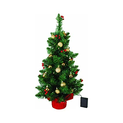 2 battery operated tabletop christmas tree with red berries and gold ornaments