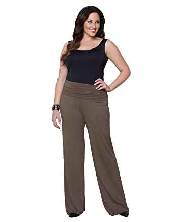 849db9e396c31 Kiyonna Women s Plus Size Peyton Palazzo Pants 3X Vintage Taupe at ...