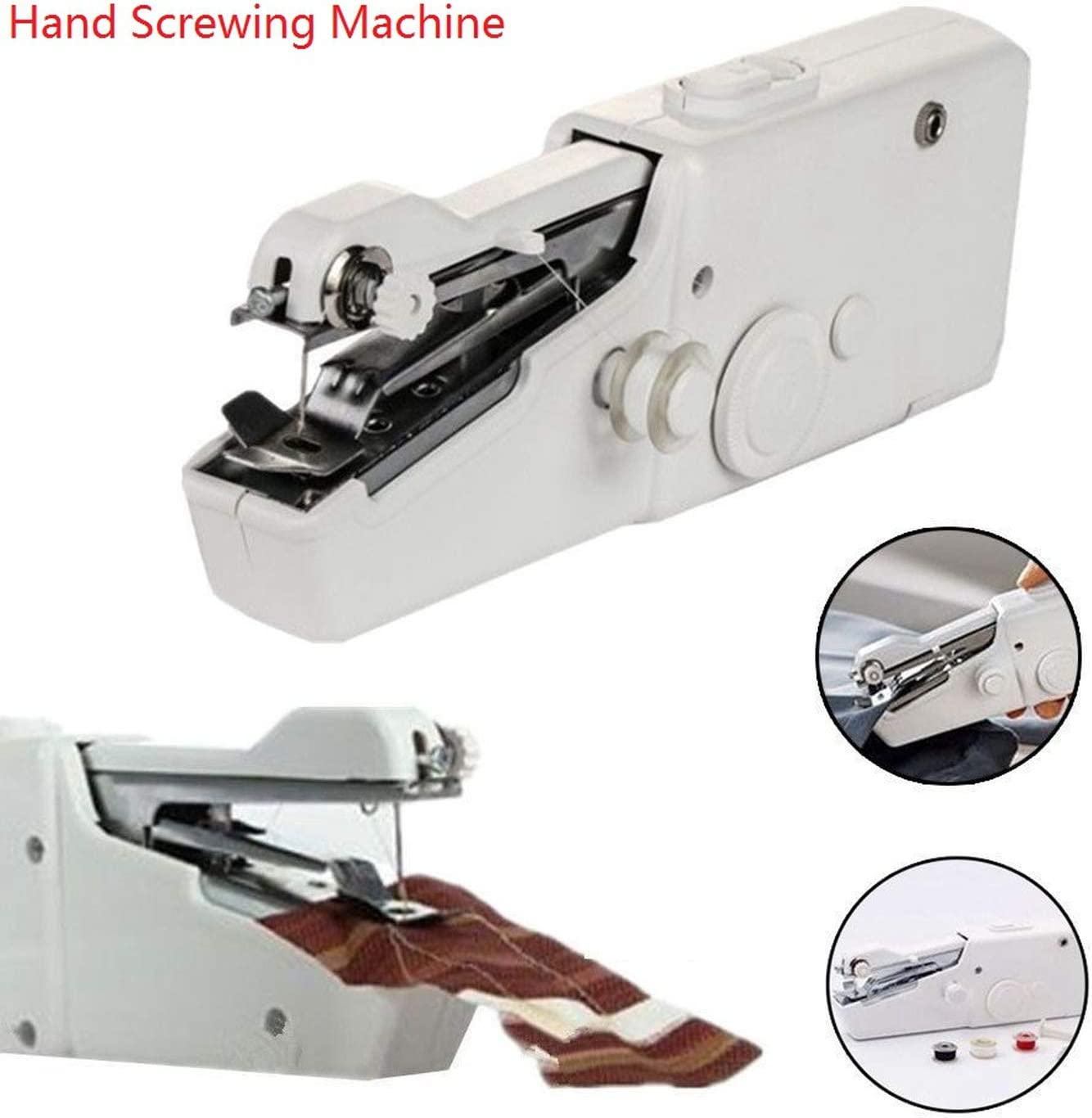 Manual * * * Mini mano portátil eléctrica máquina de coser Smart Tailor móvil Stitch Set hogar ropa plástico mano herramienta de coser Un color