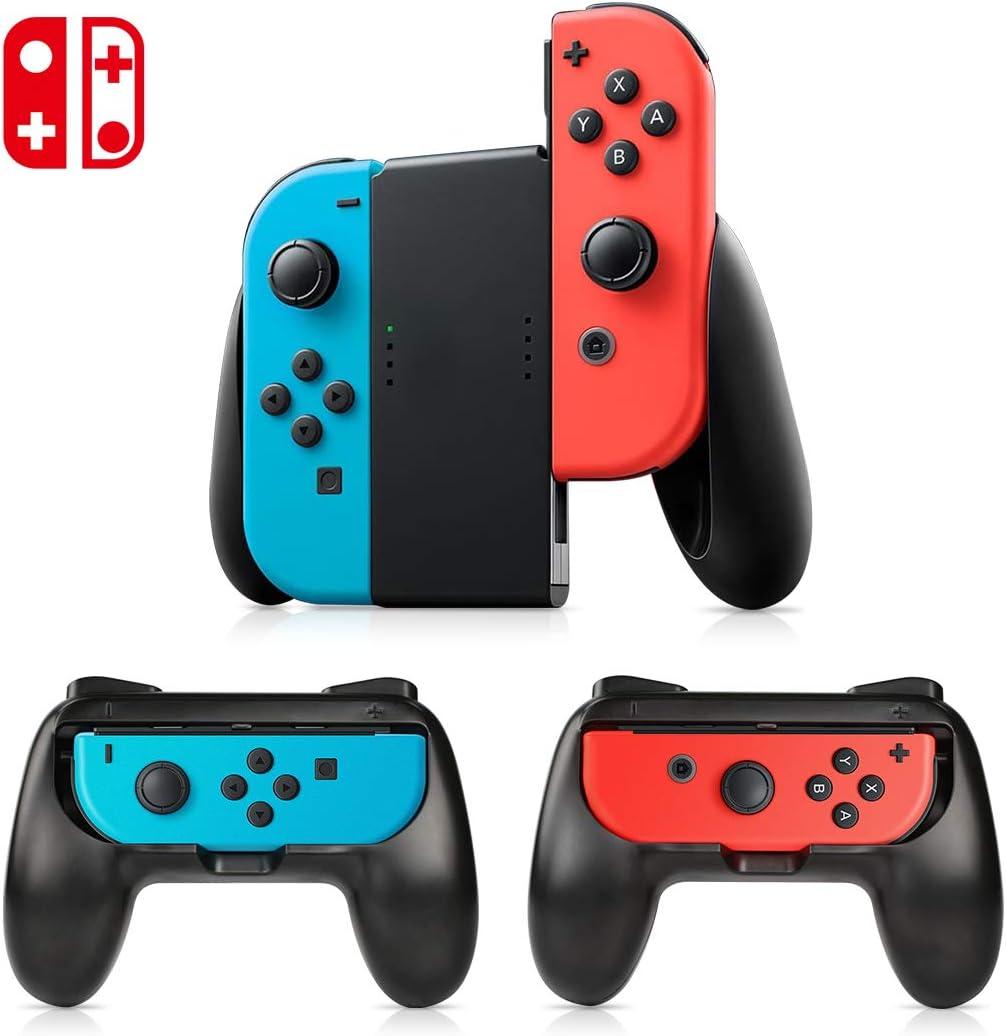 Mandos Nintendo Switch kit (3 piezas), Empuñaduras de control kit Grip , kit de mandos, funda protectora para que controle el kit de controlador(Negro).