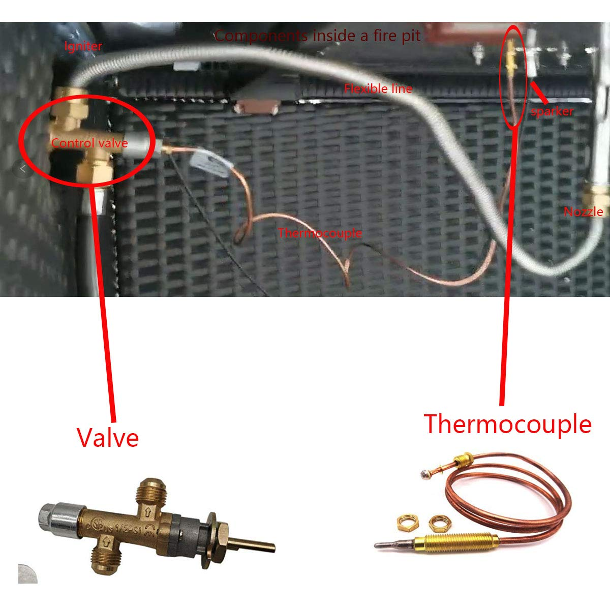 MENSI LPG fireplace gas control cock valve with thermocouple and knob