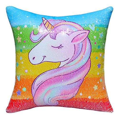 ICOSY Unicorn Mermaid Pillow Case Magic Reversible Sequin Pillow Cover Unicorn Pillows Reversible Sequins Decorative Cushion Covers 16