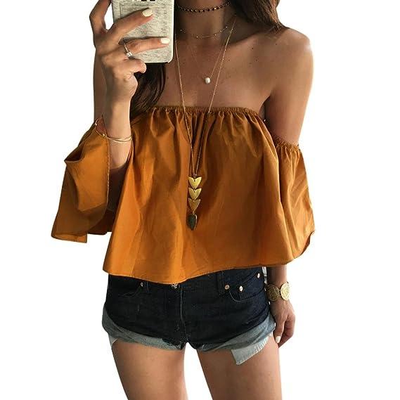 RETUROM Mujeres Blusa Camiseta Ropa, Moda Mujer Verano de Blusa Casual Hombro (S,