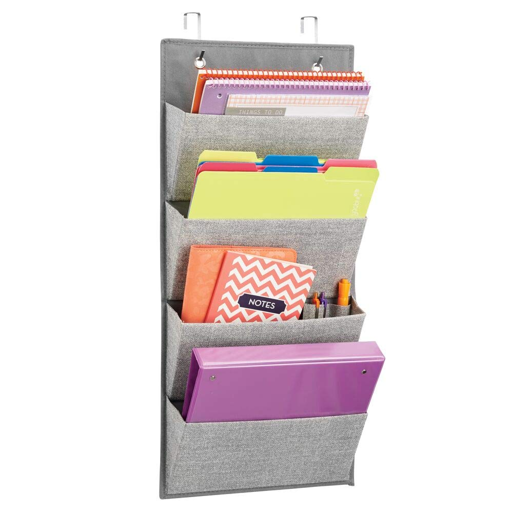 mDesign Soft Fabric Wall Mount/Over Door Hanging Storage Organizer - 4 Large Cascading Pockets - Holds Office Supplies, Planners, File Folders, Notebooks - Textured Print - Gray