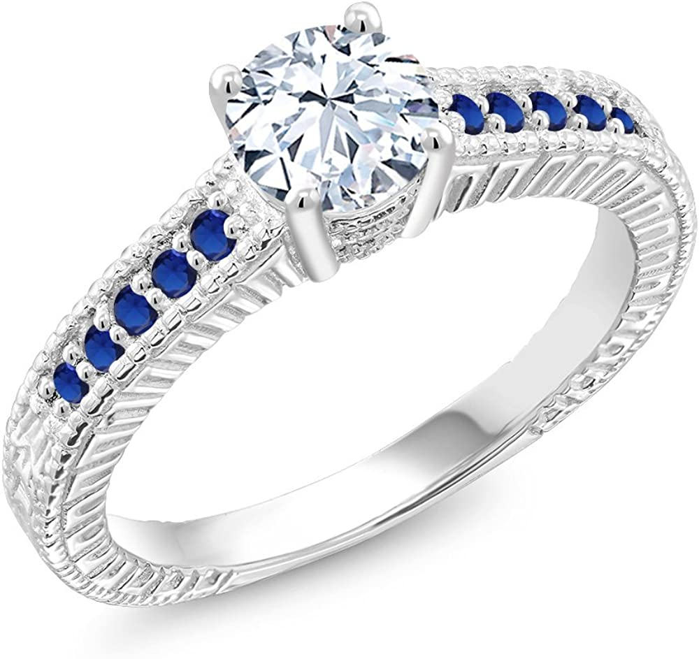 Gem Stone King 925 Sterling Silver White and Blue Created Sapphire Women Engagement Ring (1.40 Cttw, Available in size 5, 6, 7, 8, 9)