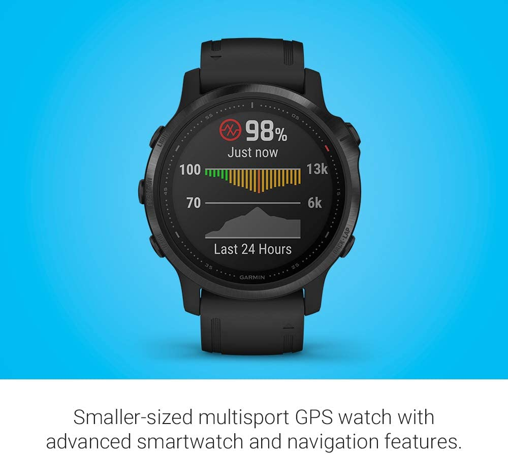 Advanced Training Features and Data Smaller-Sized Solar-Powered Multisport GPS Watch Amethyst Steel Garmin fēnix 6s Pro Solar