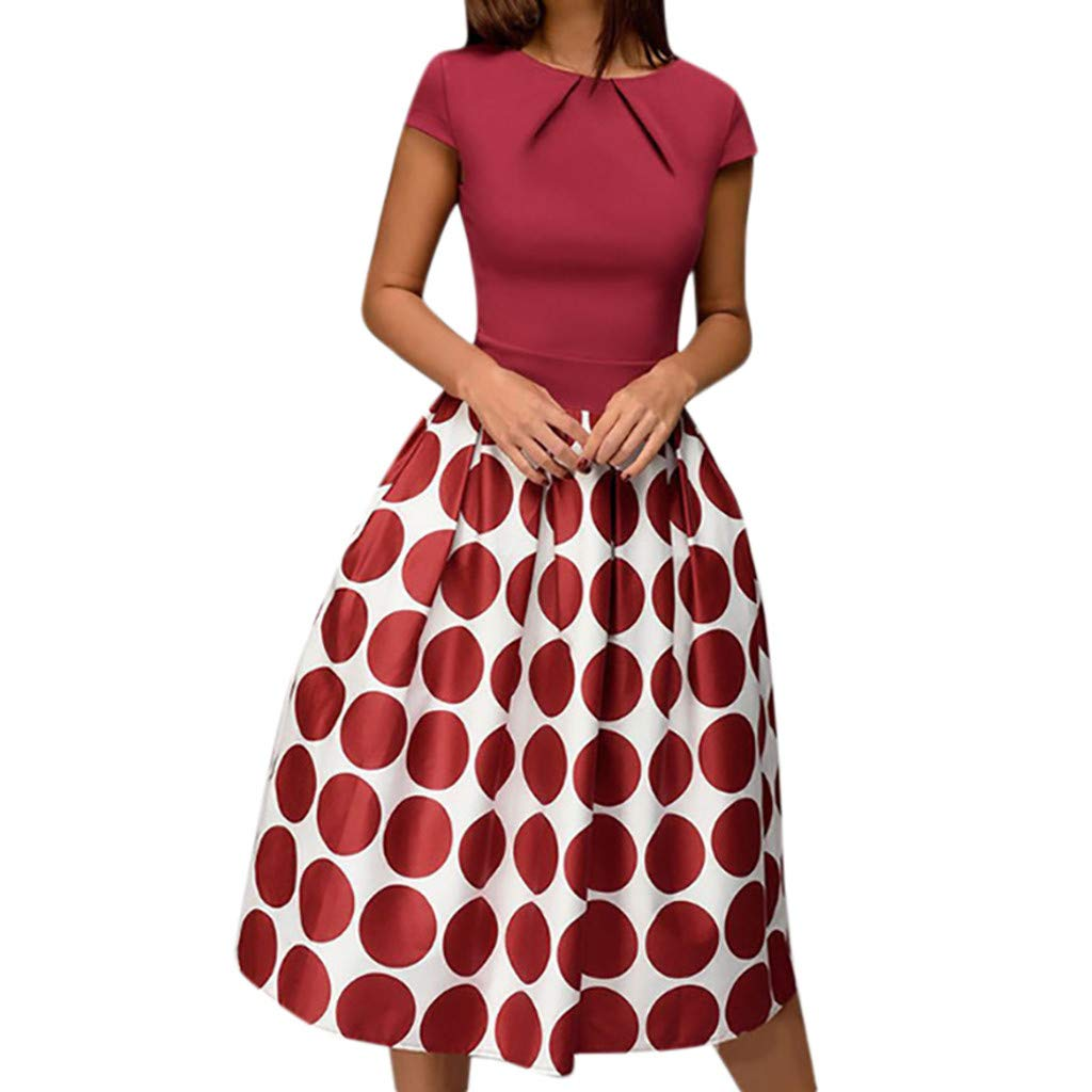 Womens Dresses Vintage Short Sleeve Dot Printed Cocktail Flowy Swing Formal Dress for Party,Wedding (S, Red)