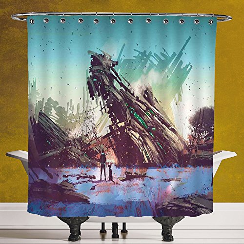Do It Yourself Girl Halloween Costumes (Stylish Shower Curtain 3.0 [Fantasy World,Man and Dog Looking at Crashed Spaceship Imagination Futuristic Illustration,Blue Green] Digital Print Polyester Fabric Bathroom Set)