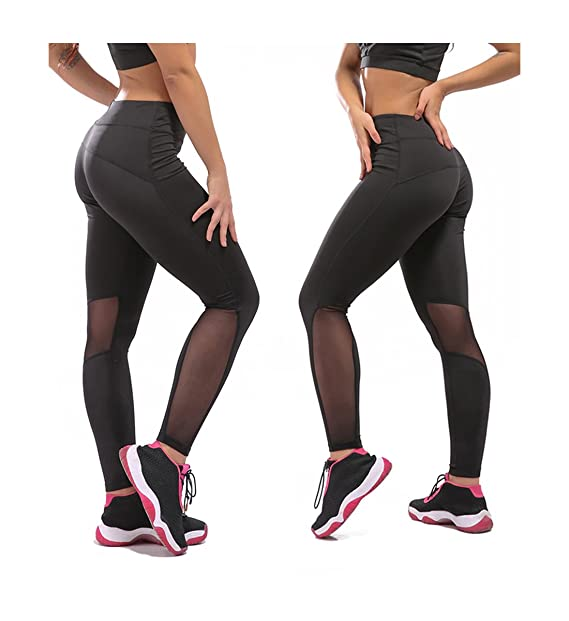 e3ed4c5d720090 Amazon.com: Women Leggings Active Mesh Pants Running Yoga Sports Pants  Tights Large Black-5: Clothing
