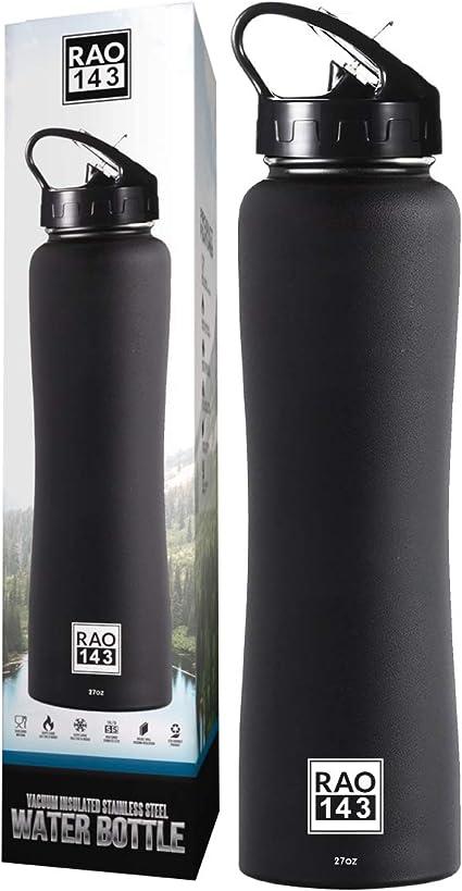 Amazon.com: Botella de agua aislada con tapa de pajita ...