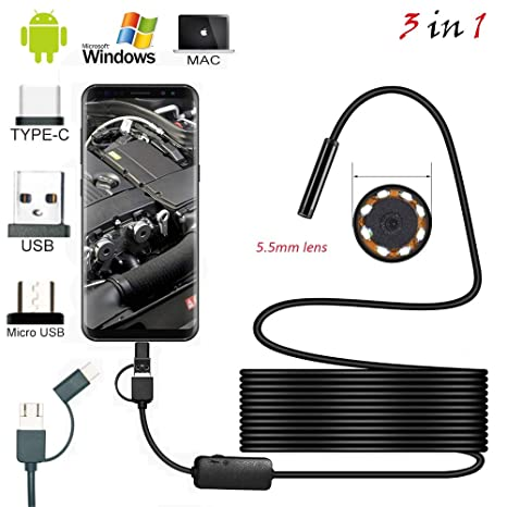 Amazon.com: 1m 2m 1.5m Wire Mini Camera 5.5mm Lens for Android Type-c/USB borescopes Waterproof led Lighting Inspection Camera: Camera & Photo