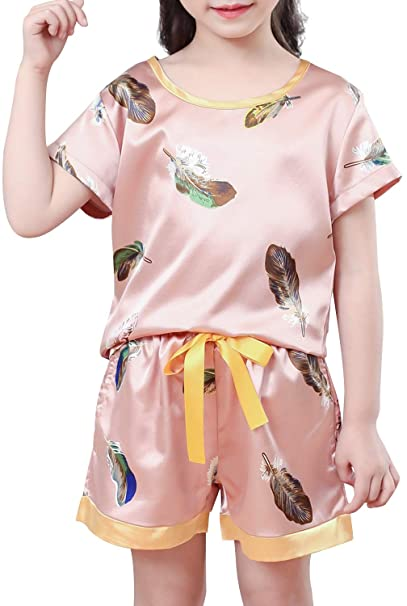 Amazon.com: Conjunto de pijama corto de seda para niñas ...