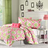 Mi-Zone Katelyn Comforter Set Full/Queen Size - Lime Green, Coral, Damask – 4 Piece Bed Sets – Peach Skin Fabric Teen Bedding for Girls Bedroom