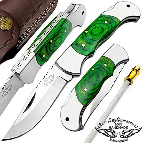 "Green 7.5"" Handmade Stainless Steel Folding Pocket Knife With Back Lock 100% Prime Quality - Premium Manufacture - Excellent Design in Stainless Steel-A Priceless Gift By Best.Buy.Damascus1"