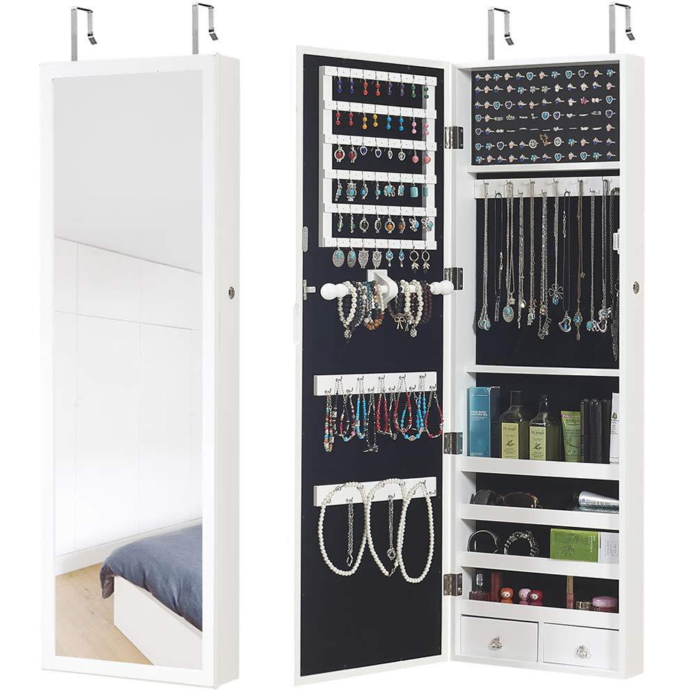 GISSAR Jewelry Cabinet Jewelry Armoire Wall Door Mount Mirror Storage Locking Jewelry Organizer,White