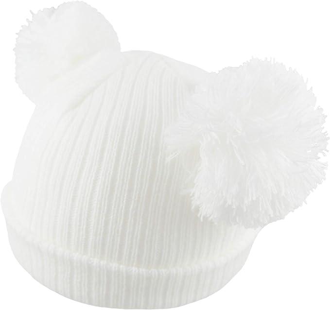 lavorato a maglia super morbido invernale Berretto per neonati caldo a coste per neonati fino a 12 mesi rosa rosa 0-3 mesi