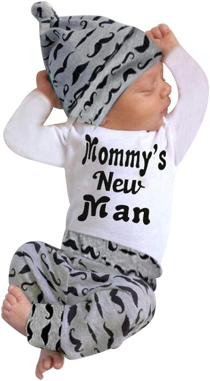 BHYDRY Lindo 3 UNIDS Trajes ReciéN Nacido Bebé Chico Mameluco Tops + Pantalones Largos Sombrero Conjuntos Ropa 0-18M