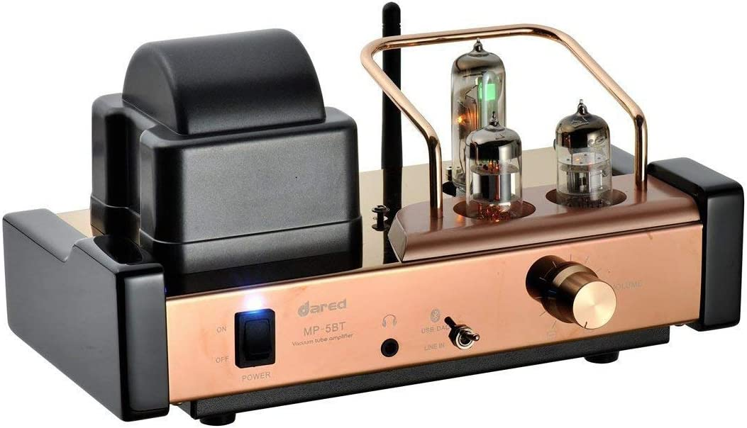 Dared MP-5BT HiFi Audiophiles Professional Valve Amplifier Bluetooth Stereo Multi-Channel Hybrid Integrated Amplifier,Bluetooth/USB DAC/Headphone,25W2,with 6N11,6N21,6E21 Tube