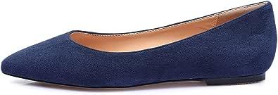 CASTAMERE Mujer Cómodos Planos Zapatos Puntiagudas Ancho Tacón Bailarinas
