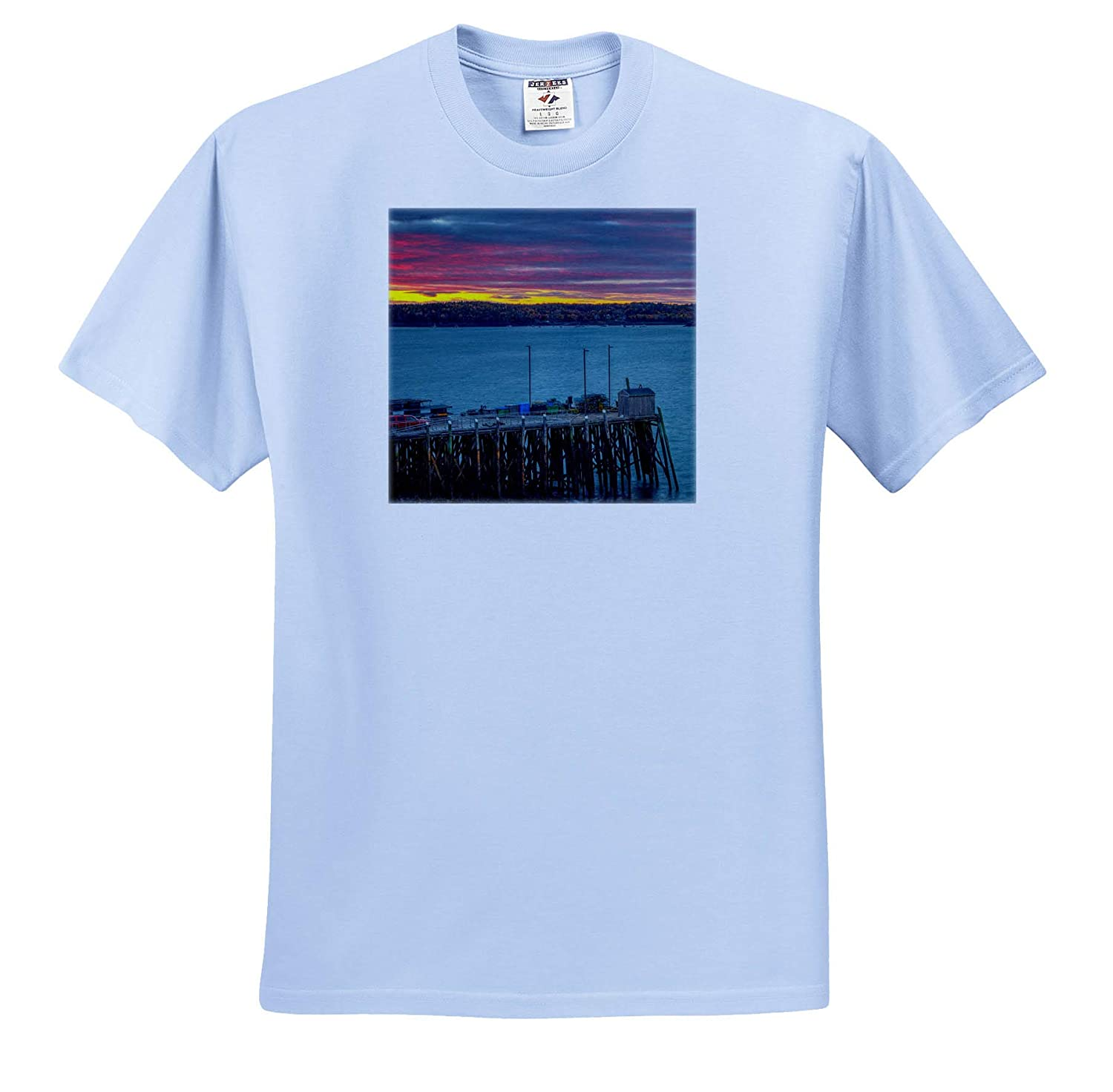 Adult T-Shirt XL Landscapes ts/_317163 3dRose Mike Swindle Photography Sunset in The Harbor