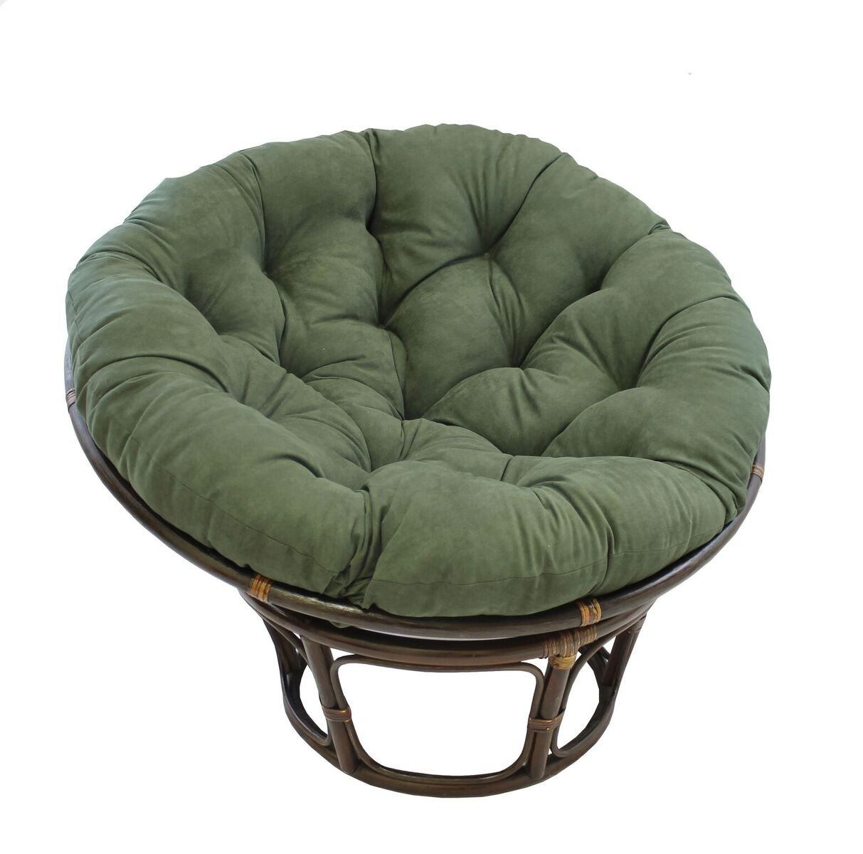 American Rattan Papasan Chair withグリーン100 %ポリエステルクッション – 大人用サイズ   B01CW92Q2G