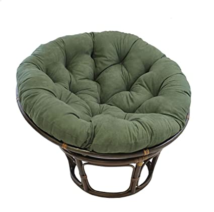 American Rattan Papasan Chair With Green 100% Polyester Cushion   Adult Size