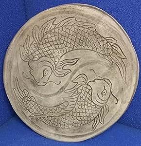 Koi de relieve–cuadro de hängend pátina de piedra moldeada Feng Shui 40cm Figura de piedra