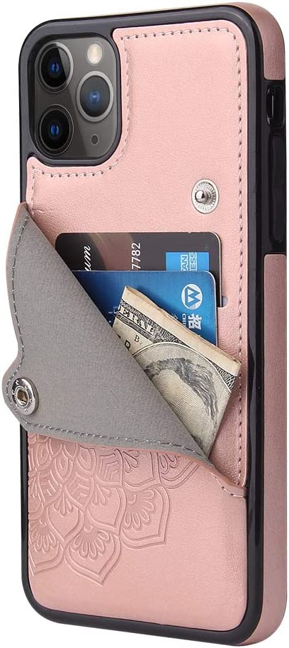 Apucase iPhone 11 Pro Case 11 Pro Wallet case 11Pro Protective Cover with Credit Card Slot Holder and Slim Leather Case for iPhone 11 Pro 5.8Inch (xRosegold)