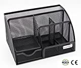 EasyPAG Mesh Office Desk Organizer 6 Compartment Desktop Accessories Caddy with Drawer ,Black