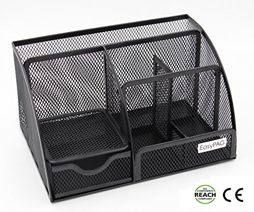EasyPAG Mesh Desk Organizer 6 Compartment Office Accessories Caddy with Drawer - Desk Organizer
