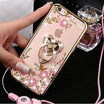 Kompatibel mit iPhone 4S/4 Hülle,iPhone 4S/4 Hülle,Glänzend Glitzer Diamant Rose Blumen Muster Überzug TPU Silikon Durchsicht