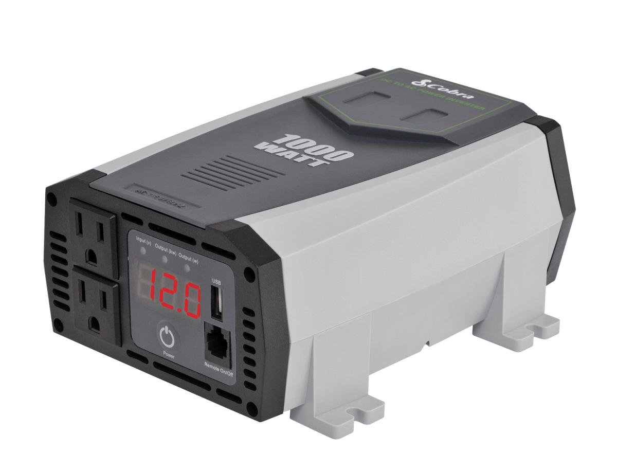 Cobra CPI890 800W Compact Power Inverter, 2.4 USB, 2 Grounded Outlets