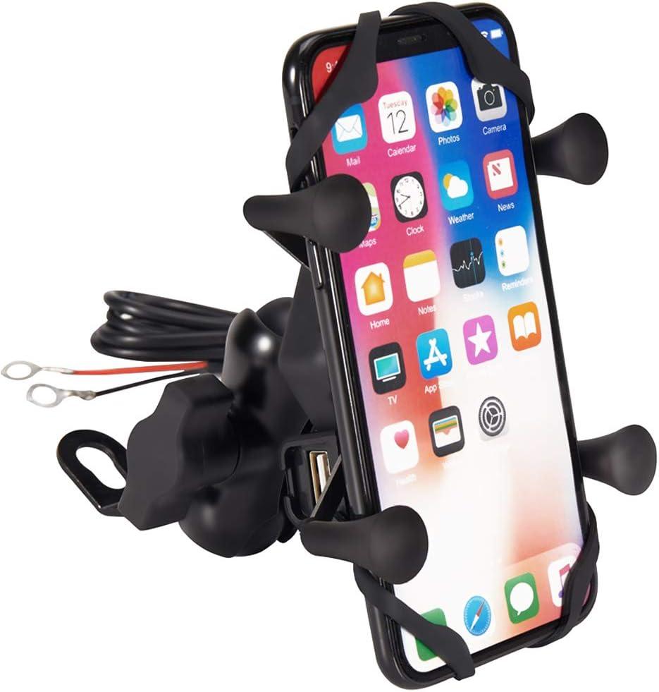 Semoss 360 Rotación Universal Soporte de Celular para Moto con Impermeable USB Cargador per telefonos 3.5 a 6.5 Pulgadas iPhone Galaxy Huawei Smartphones