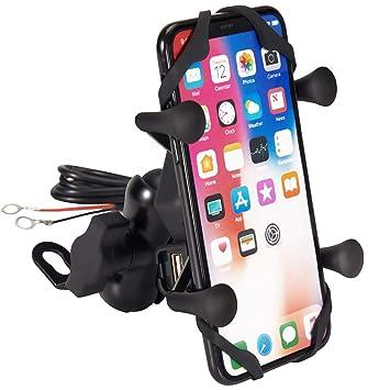 Semoss 360 Rotación Universal Soporte de Celular para Moto con Impermeable USB Cargador per telefonos 3.5 a 6.5 Pulgadas iPhone Galaxy Huawei ...