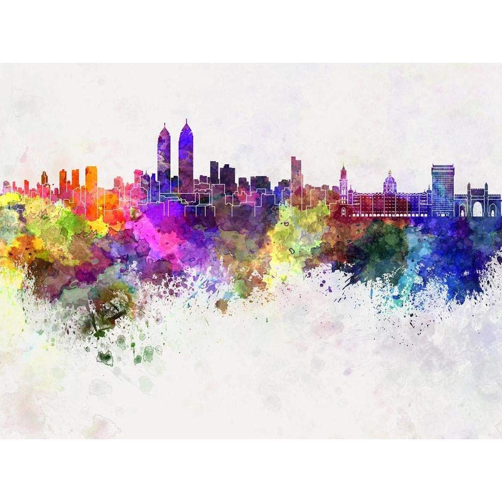 Buy pitaara box mumbai skyline in watercolor india peel stick vinyl wall sticker 26 7 x 20inch online at low prices in india amazon in