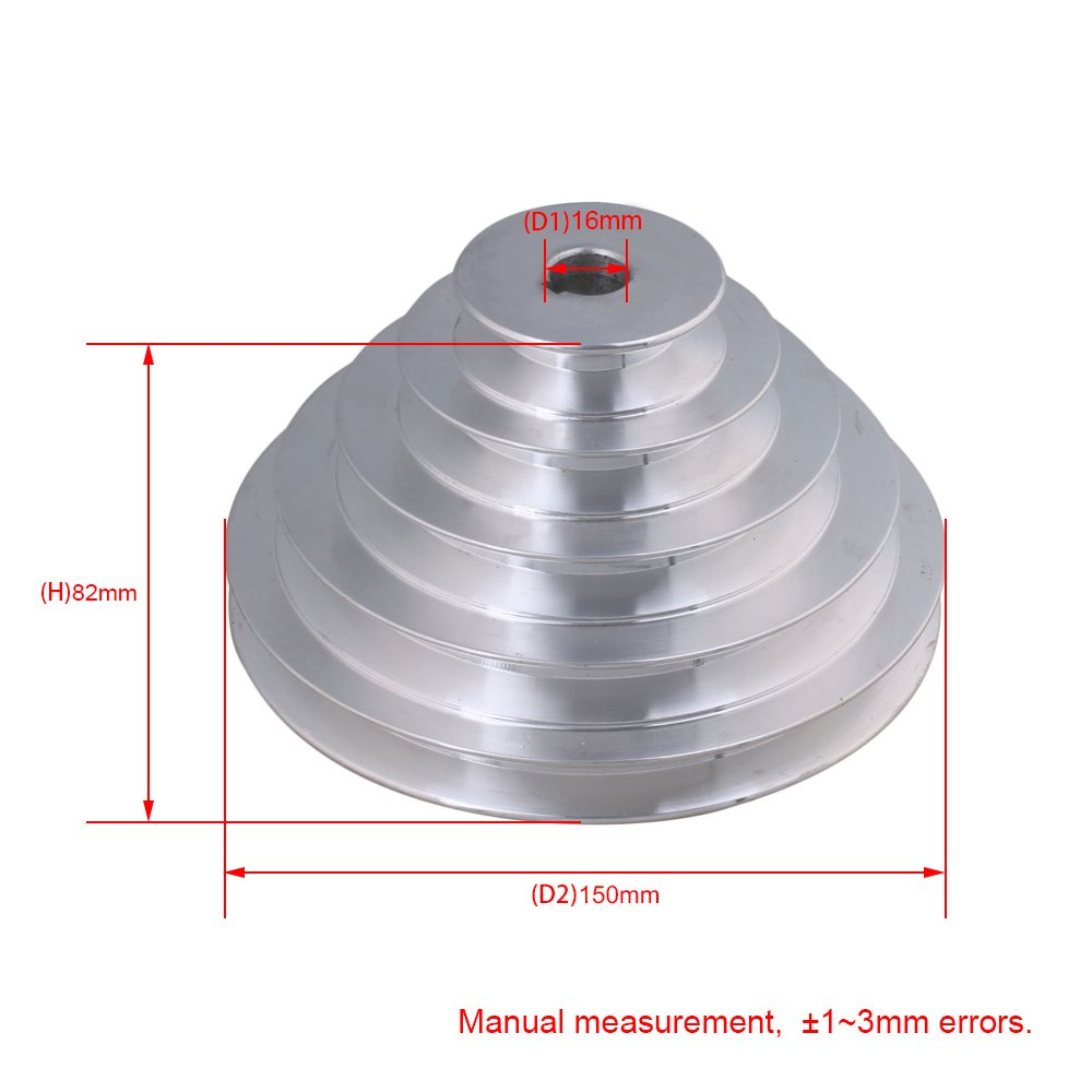 54 mm a 150 mm de diámetro exterior 16 mm de diámetro interior 12.7 mm de aluminio 5 pasos de cinturón de la polea de pagoda para un tipo de cinturón de ...