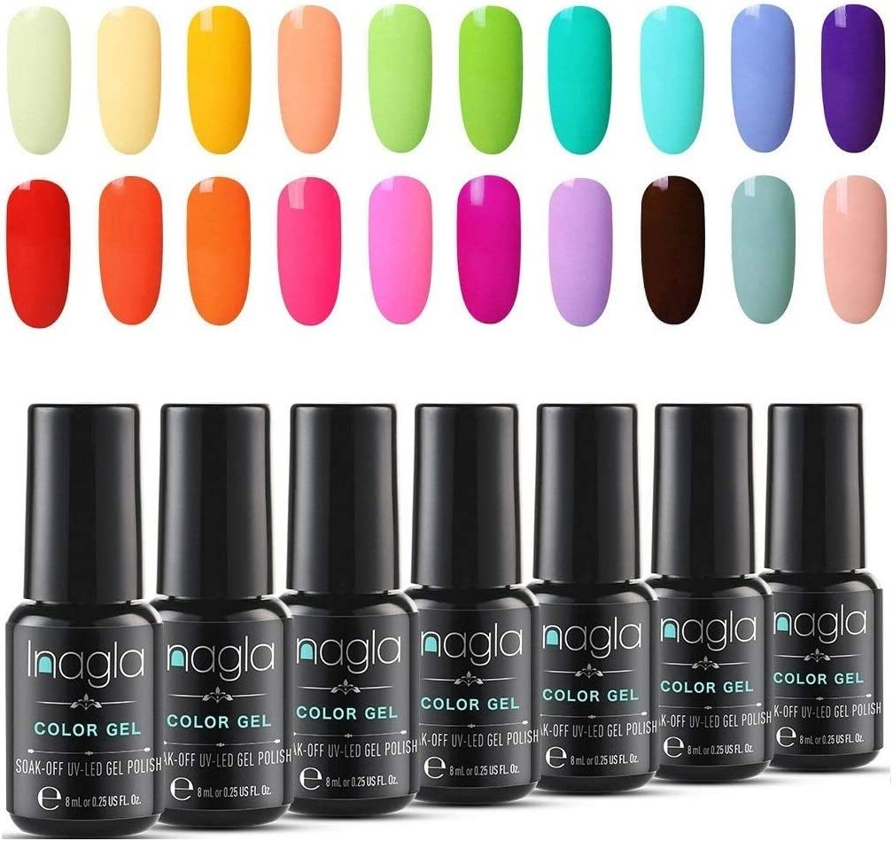 Inagla Esmaltes Semipermanentes de Pastel, 20 Colores de Esmaltes de Uñas en Gel UV LED para Manicura