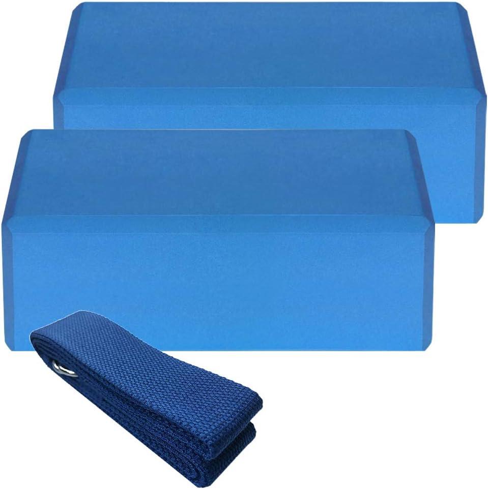 NOBRAND Yoga Equipment Set,2Pcs Yoga Blocks 1Pcs Cotton Yoga Strap Stability Blocks Yoga Strap Set For Yoga Pilates Meditation Sports Exercise Gym