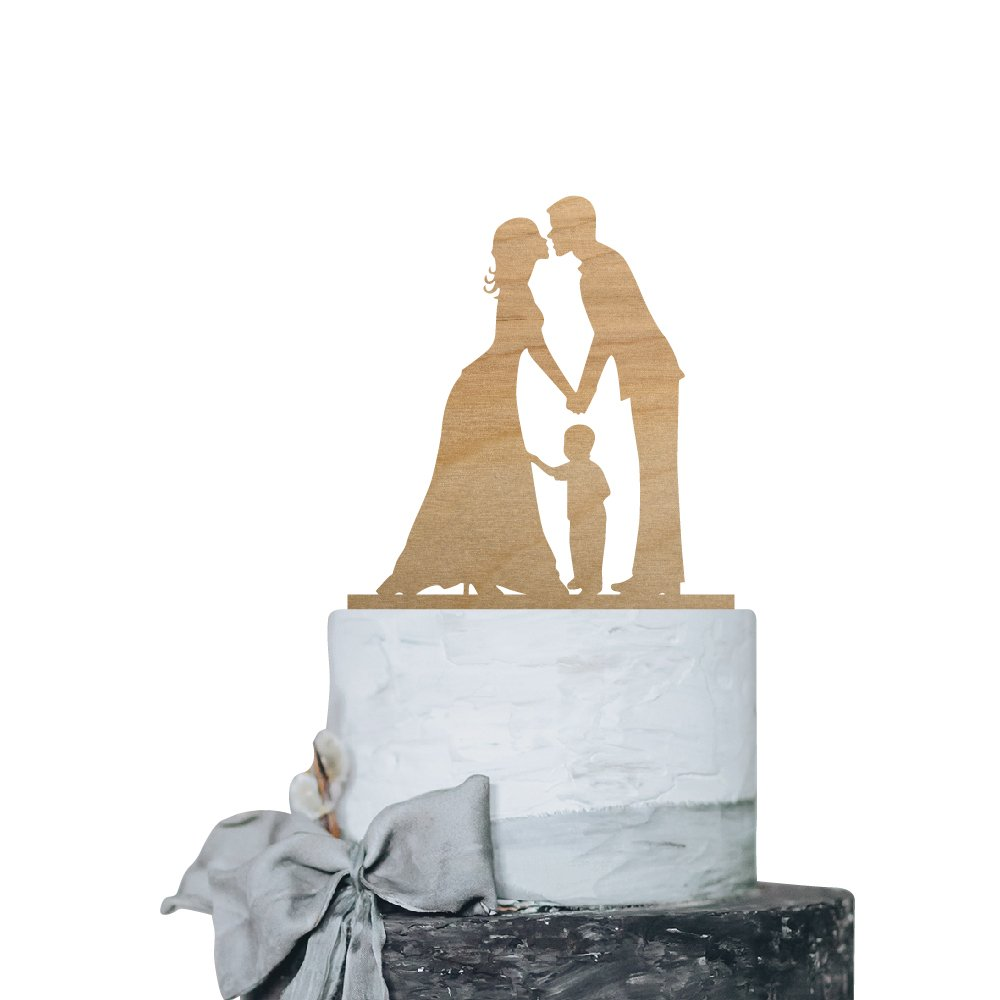 P Lab Kissing Couple with Boy Romantic Time Wedding Cake Topper Rustic Wood Decoration Keepsake Engagement Favors for Special Event Ply Wood by Personalization Lab (Image #1)