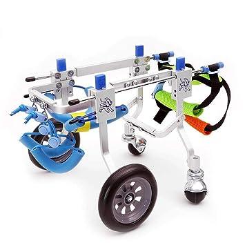 HLMF Carrito para Silla De Ruedas para Mascotas con 4 Ruedas Med para Discapacitados Patas Traseras Caminar Modelo De Aluminio Ajustable Peso De La Mascota ...