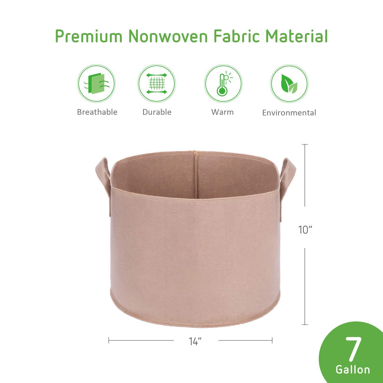 VIVOSUN 5-Pack 10 Gallons Heavy Duty Thickened Nonwoven Fabric Pots Grow Bags with Strap Handles Tan