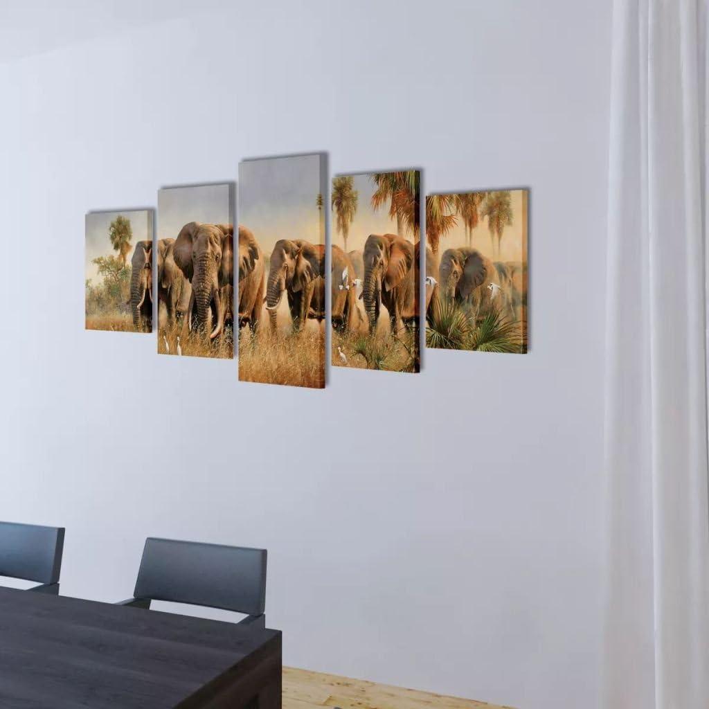 UnfadeMemory Set de 5 Cuadros para Pared,Lienzo Decorativo para Pared,Cuadro en Lienzo,Decoracion para Hogar,Lienzo Impermeable 100x50cm, Big Ben de Londres
