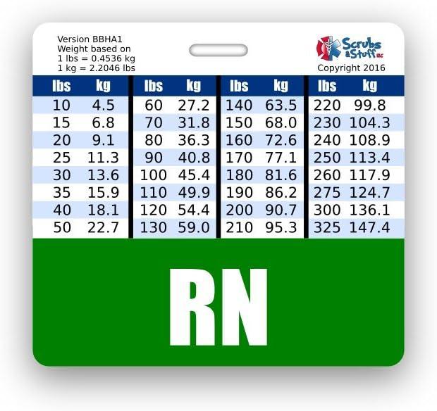 RN (登録看護師) バッヂ 体重&身長変換チャート付き 水平 グリーン