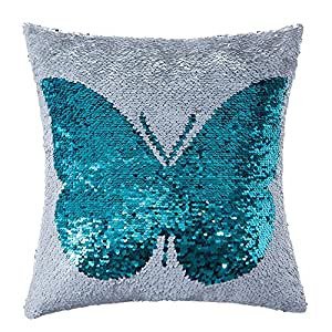 Homecy Reversible Sequins Pillow Cover Butterfly Patten Mermaid Pillowcases Throw Cushion 16x16 Inch