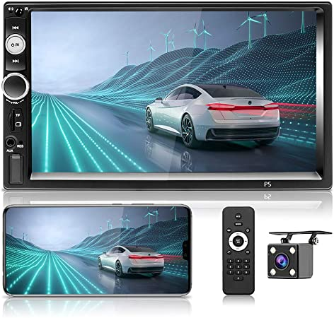 Hikity 2 Din Car Stereo 7 HD Touch Screen MP5 Player Bluetooth FM Radio Support iOS//Android Phone Mirror Link with AUX//Dual USB//SD//DVR Input Backup Camera /& Steering Wheel Control