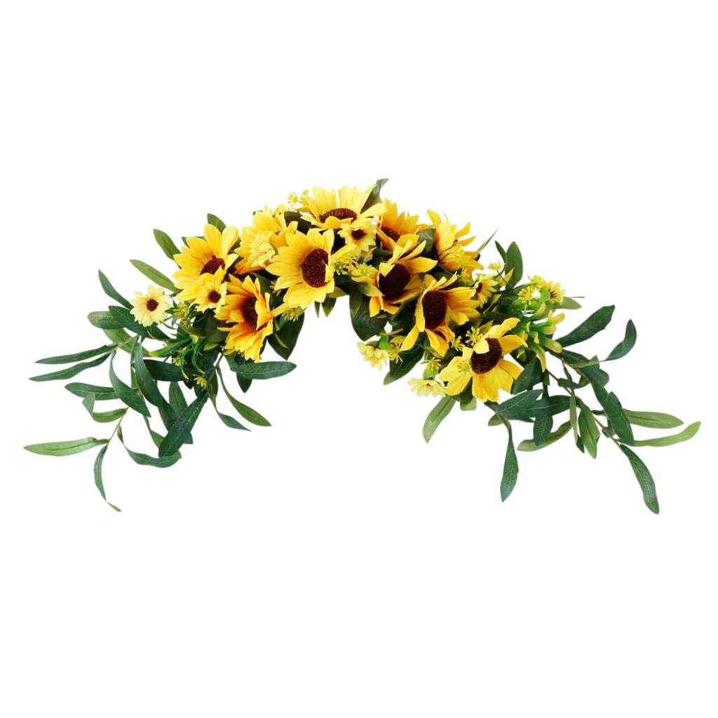 LOVIVER Artificial Sunflower Summer Wreath - 16 Inch Decorative Fake Flower Wreath with Yellow Sunflower and Green Leaves for Front Door Indoor Wall Décor