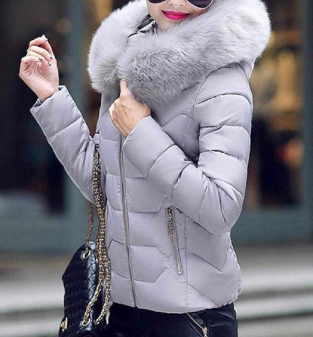 Abetteric Women Outwear Hood Faux-Fur Trim Coat Cotton Wadded Jacket