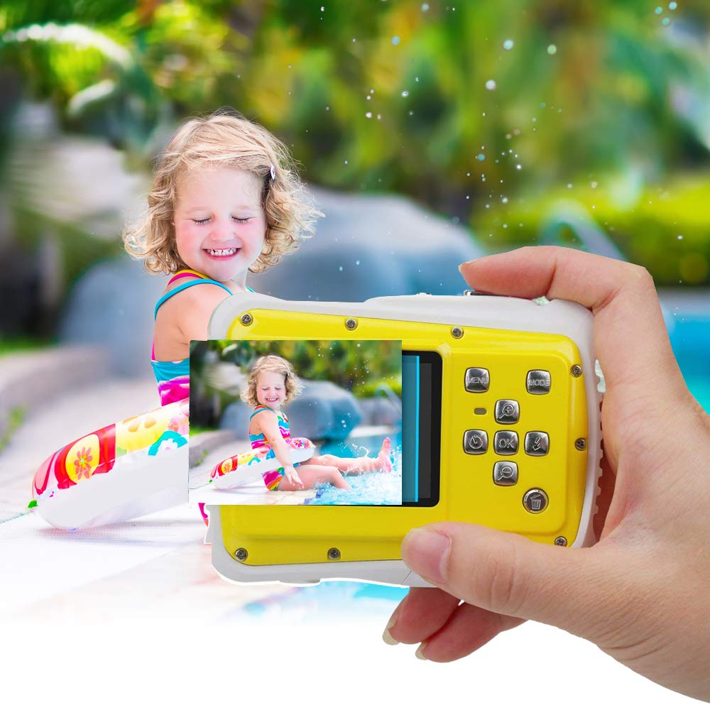 Kids Waterproof Camera Digital Camera for 4-10 Years Old Children, 12MP HD Underwater Action Camera Camcorder with 8X Digital Zoom, 2.0 Inch LCD Display, 16G Micro SD Card – Easy to Use (Yellow) by tesha (Image #6)